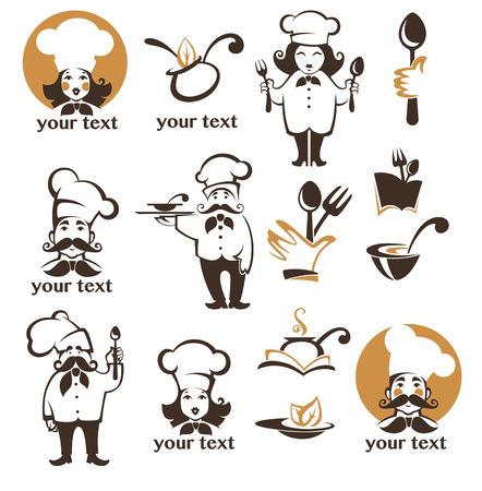 logo de comida: todo para la comida, icono del vector, símbolos y recogida logo
