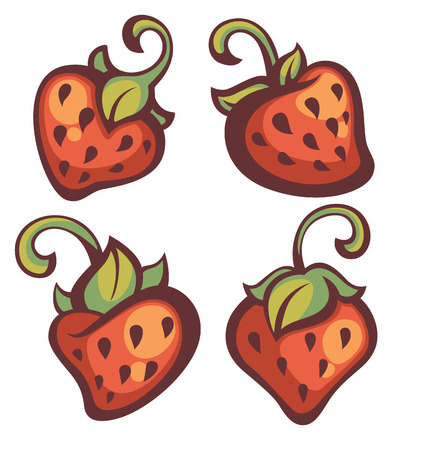 strawberry cartoon: fresh mellow strawberry, vector illustration in cartoon style
