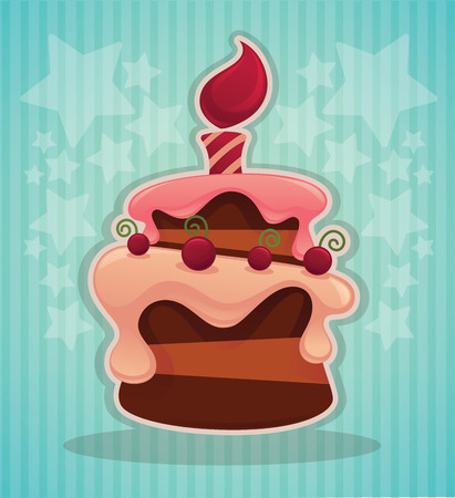 patch of light: vector background with image of birthday cake, candle and place for your text