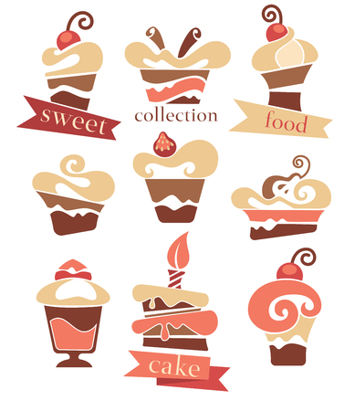 Vector collection of cakes images, symbols and emblems Vector