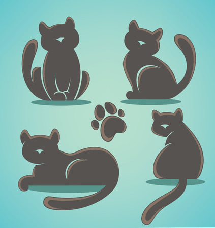 sit stay: vector cats