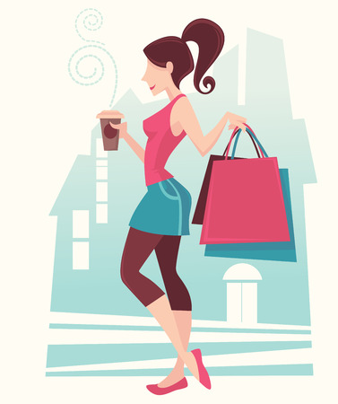 vector girl: Girl in the City, vector shopping illustration and background Illustration