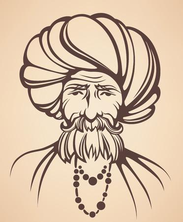 vector portrait of Indian man Vector