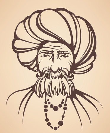 sikhism: vector portrait of Indian man