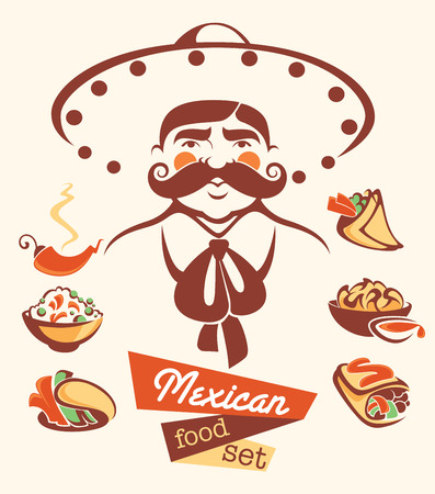 vector collection of traditional mexican fast food and man image  イラスト・ベクター素材