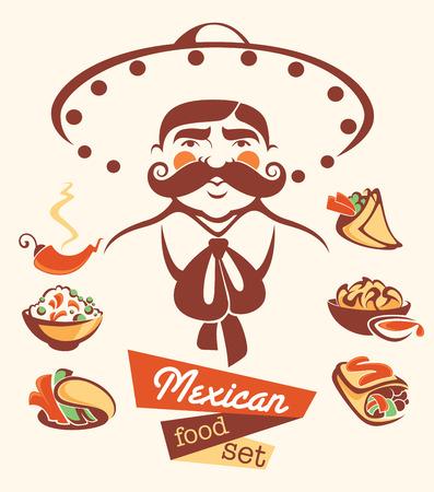 traje mexicano: vector colección de imágenes de alimentos y el hombre rápida mexicana tradicional de