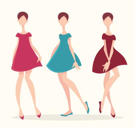 mode retro: retro mode, vector meisjes collectie
