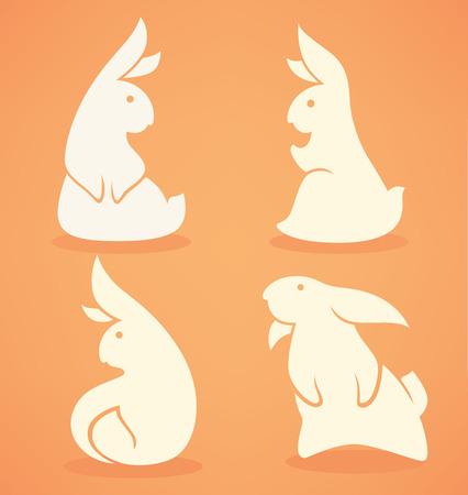 lapin silhouette: Banny drôle, collection vecteur de lapin