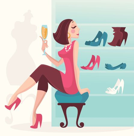 young woman sitting: luxury shopping, vector illustration