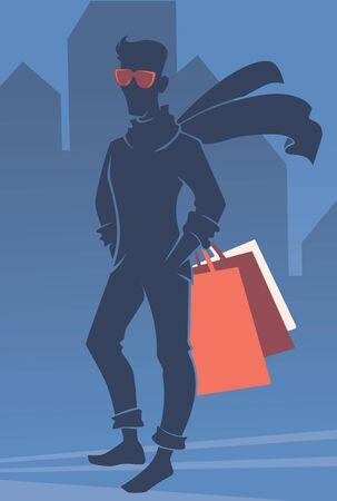 hombre guapo: vector silueta de hombre guapo con bolsas de la compra