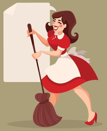 mujer limpiando: limpieza retro, ilustraci�n de dibujos animados de vectores Vectores