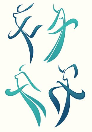 exaltation: vector collection of abstract women in ballet pose Illustration