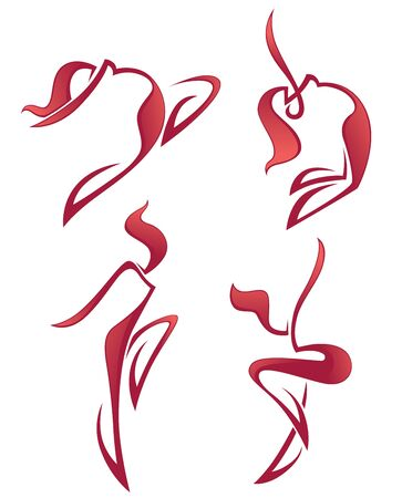 life style people: vector collection of abstract women in dancing poses