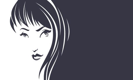 sexy image: lovely beauty, vector image of girl face with place for your text Illustration