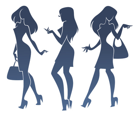 simbolo de la mujer: tres siluetas chica de moda Vectores