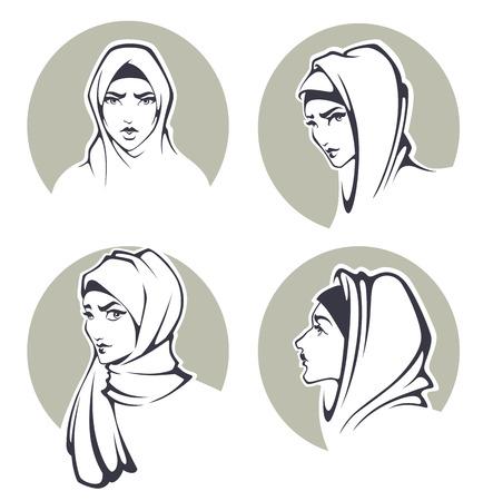 femmes muslim: belle collection de filles arabian Illustration