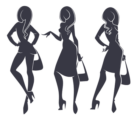fashionable girl: three fashionable girl silhouettes