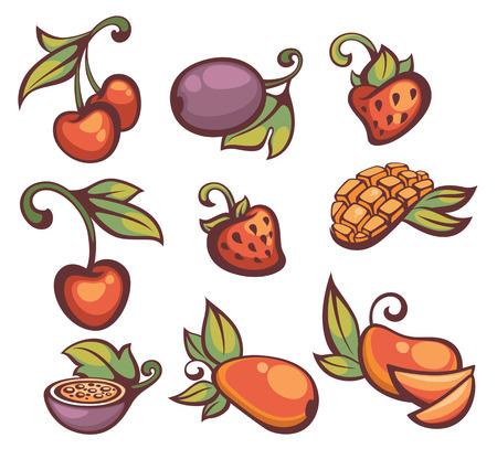 mango slice: mango, cherry, strawberry and passion fruit collection