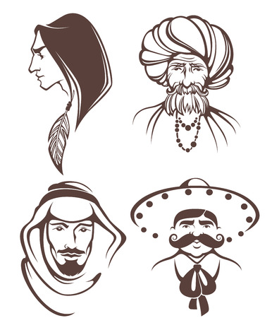 prayer shawl: different man faces, different nationality