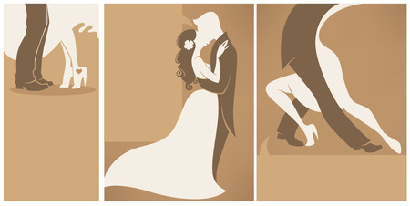 bride and groom, collection of wedding cards in elegant style