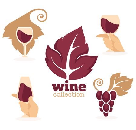 wineries: vector symbols and images for wine, wineries, restaurants and wine shops