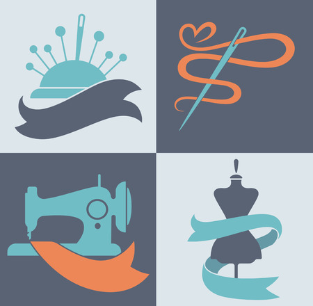 be a tailor, hand made fashion, vector collection of symbols and icons Ilustração