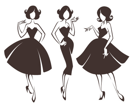 new look girls, vector collection of girls in retro style 일러스트