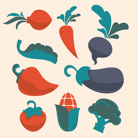 egg plant: fresh flat vegetables collection
