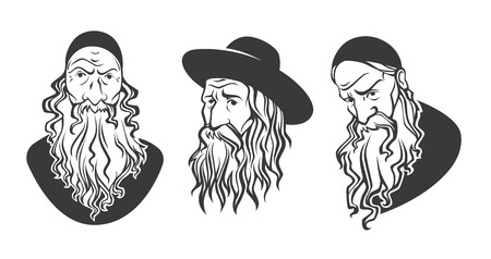 kabbalah: old jewish man, vector portraits collection