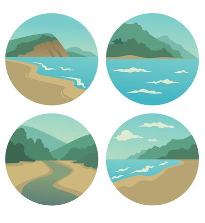 mediterranean homes: vector collection of sea summer landscape symbols