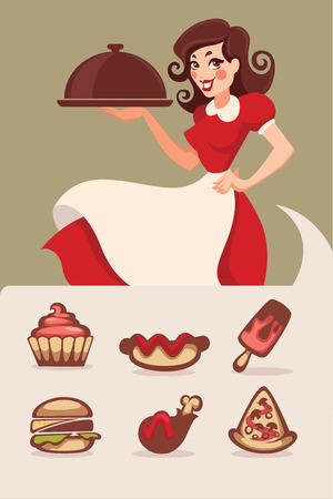 homemakers: classical american fastfood in retro sryle Illustration