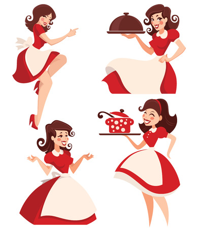 helpful housewife vector cartoon retro woman collection