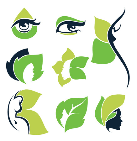 natural beauty: women health, beauty and treatment symbols, emblems and icons