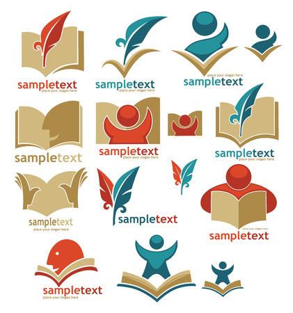 manos logo: de libros, la lectura, la educación, signos, símbolos y logotipo Vectores