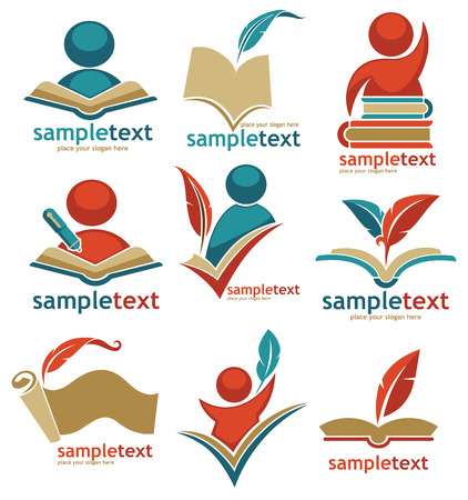 estudiar: de libros, la lectura, la educación, signos, símbolos y logotipo Vectores