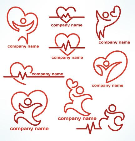 보건 및 의료 로고와 상징의 벡터 컬렉션 일러스트