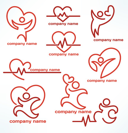 zdraví: Vektorové kolekce zdraví a medicíny loga a emblémy Ilustrace