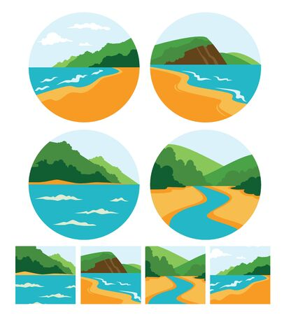mediterranean homes: vector collection of sea summer landscape symbols, icons and emblems Illustration