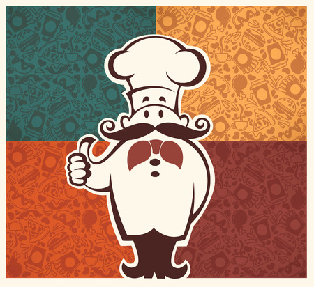 frankfurter: american fastfood pattern and cartoon chef image