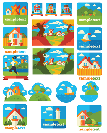 mediterranean homes: large and nature illustration, emblems and icons