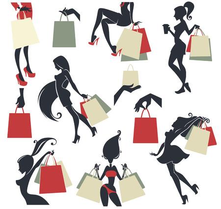 chicas comprando: gran colección de compras del vector, las niñas y las bolsas