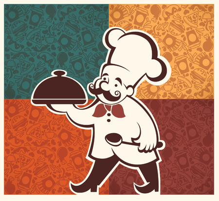 eat: american fastfood pattern and cartoon chef image
