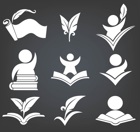 history icon: back to school education signs, symbols and icons on black bckground Illustration