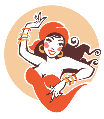 vector image of dancing gipsy, attractive woman Vettoriali
