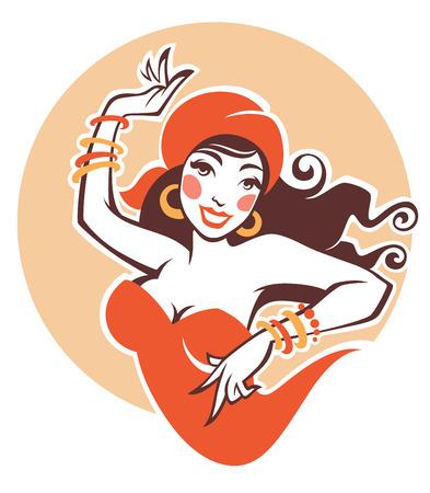 vector image of dancing gipsy, attractive woman Ilustração