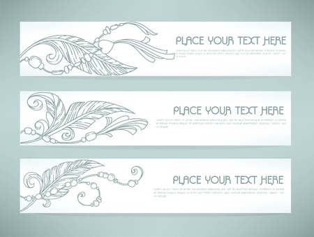 fashion jewelry: boho chic, vector hand drawn backgrounds, and banners Illustration