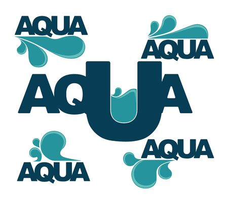 wetness: Set of water design stickers, emblems, signs and icons Illustration