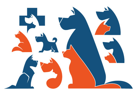 dog outline: my favorite pet, vector collection of animals symbols