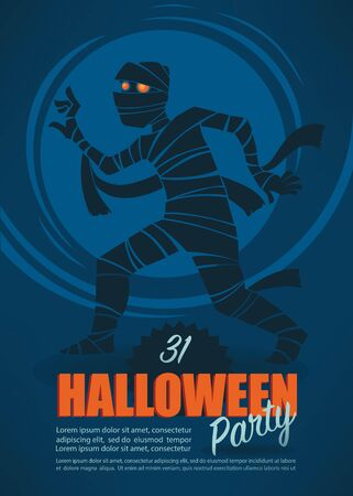 halloween costume: halloween party, greeting poster with mummy image