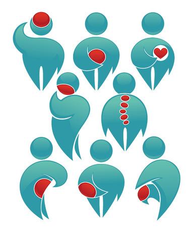 personas de espalda: vector colecci�n de s�mbolos humanos con los puntos de dolor en sus cuerpos